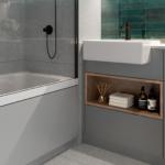 "Elegant bathroom at ""Park & Sayer"" illustrating the ""park"" colour palette"